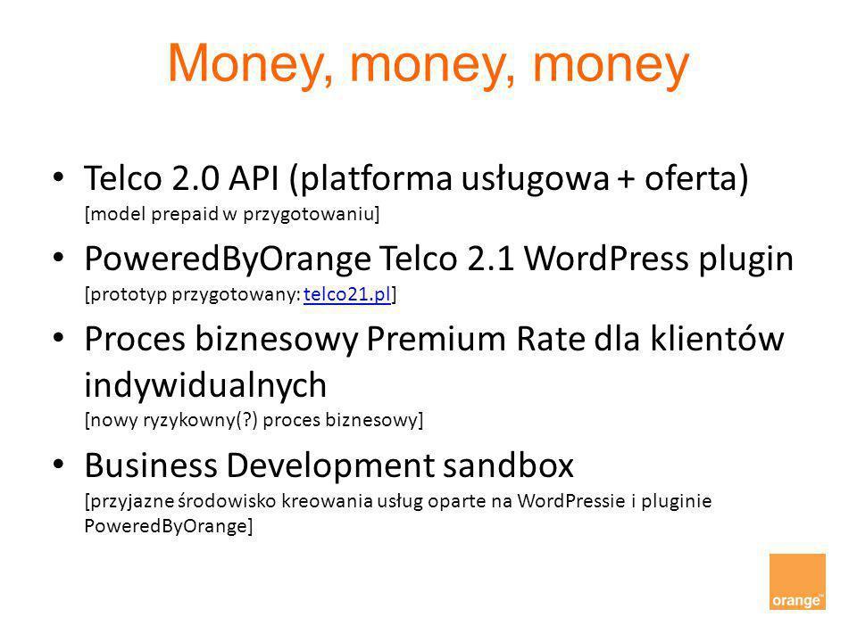 Money, money, money Telco 2.0 API (platforma usługowa + oferta) [model prepaid w przygotowaniu] PoweredByOrange Telco 2.1 WordPress plugin [prototyp p
