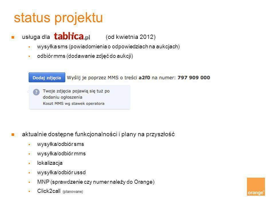 usługa dla tablica.pl (od kwietnia 2012)  wysyłka sms (powiadomienia o odpowiedziach na aukcjach)  odbiór mms (dodawanie zdjęć do aukcji) aktualn