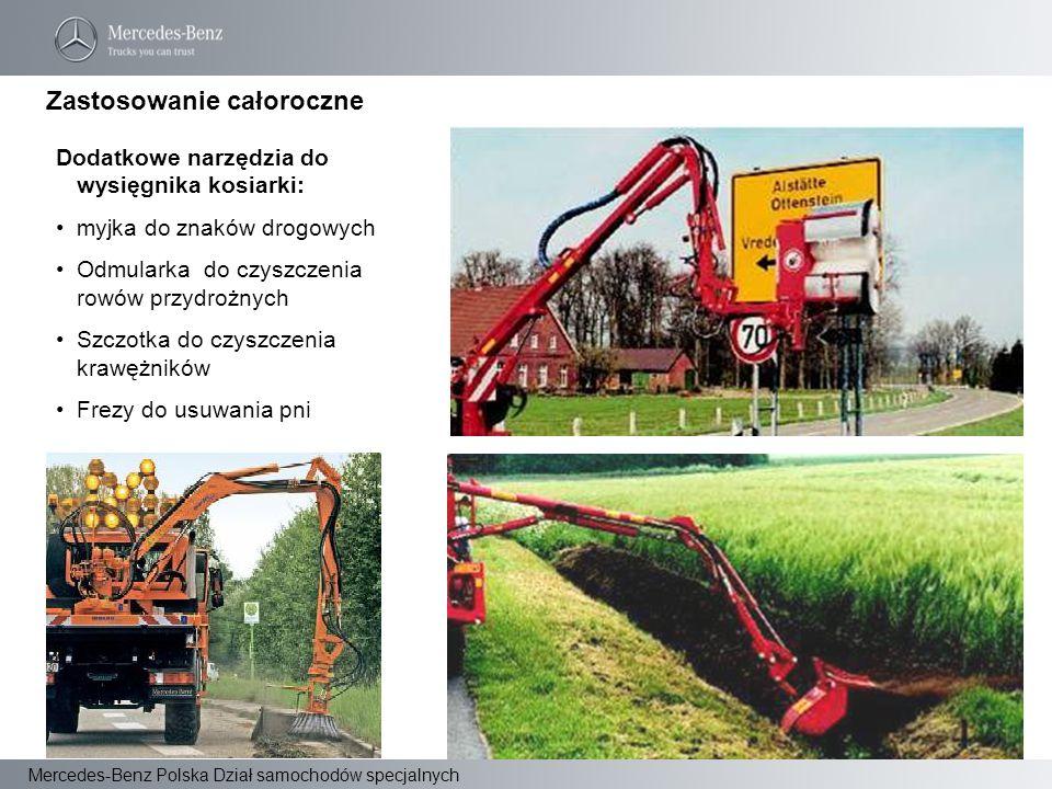 Mercedes-Benz Polska Dział samochodów specjalnych Dodatkowe narzędzia do wysięgnika kosiarki: myjka do znaków drogowych Odmularka do czyszczenia rowów