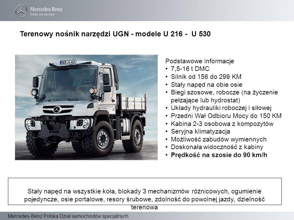 Terenowy nośnik narzędzi UGN - modele U 216 - U 530 Podstawowe informacje 7,5-16 t DMC Silnik od 156 do 299 KM Stały napęd na obie osie Biegi szosowe,