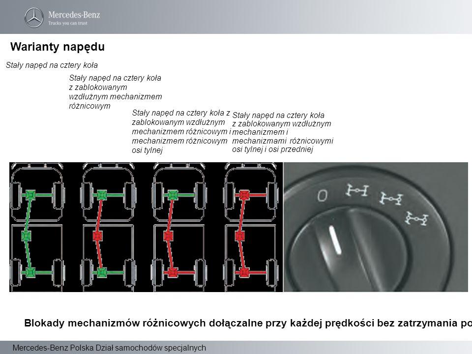 Mercedes-Benz Polska Dział samochodów specjalnych Warianty napędu Stały napęd na cztery koła Stały napęd na cztery koła z zablokowanym wzdłużnym mecha