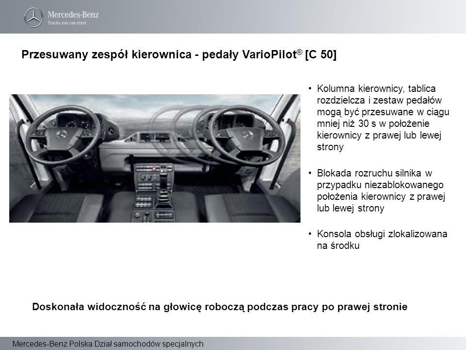 Mercedes-Benz Polska Dział samochodów specjalnych Kolumna kierownicy, tablica rozdzielcza i zestaw pedałów mogą być przesuwane w ciągu mniej niż 30 s