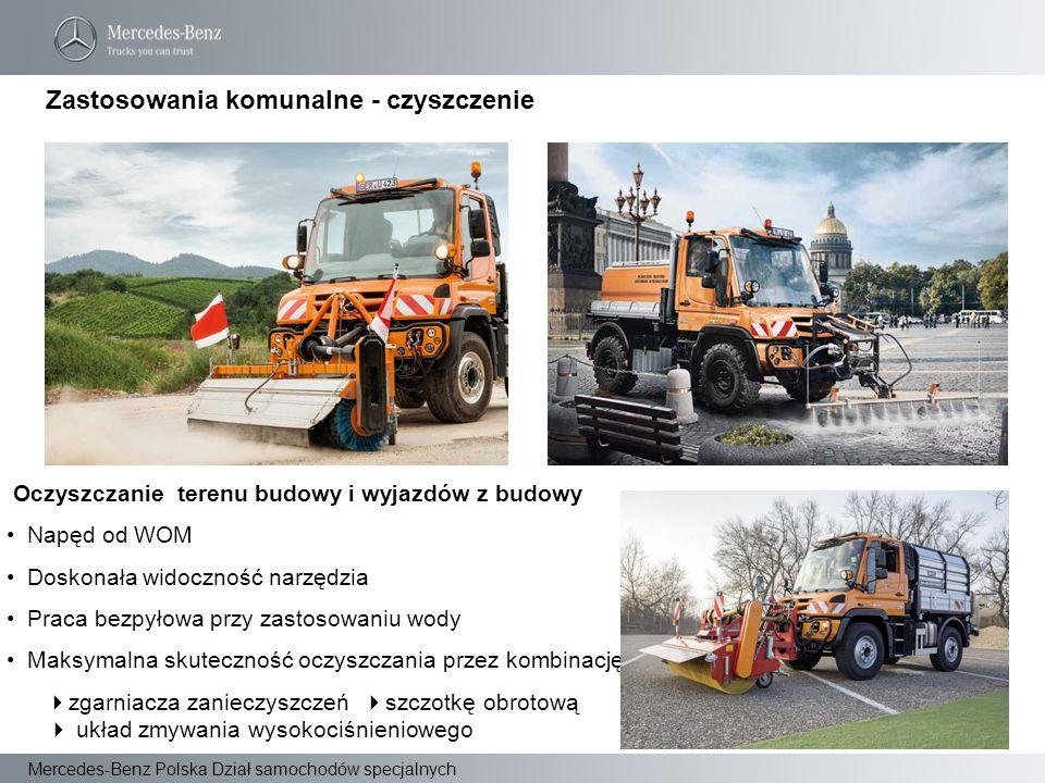 Mercedes-Benz Polska Dział samochodów specjalnych Oczyszczanie terenu budowy i wyjazdów z budowy Napęd od WOM Doskonała widoczność narzędzia Praca bez