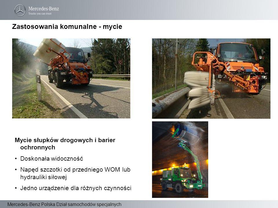 Mercedes-Benz Polska Dział samochodów specjalnych Mycie słupków drogowych i barier ochronnych Doskonała widoczność Napęd szczotki od przedniego WOM lu