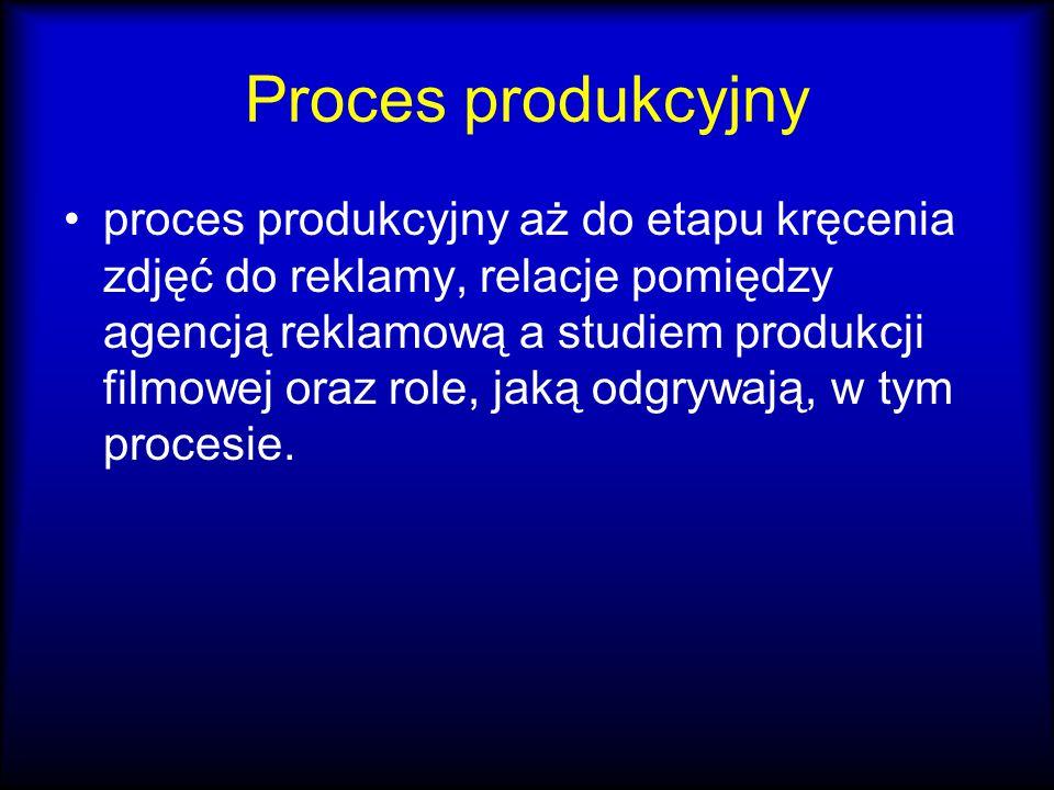 Proces produkcyjny proces produkcyjny aż do etapu kręcenia zdjęć do reklamy, relacje pomiędzy agencją reklamową a studiem produkcji filmowej oraz role, jaką odgrywają, w tym procesie.