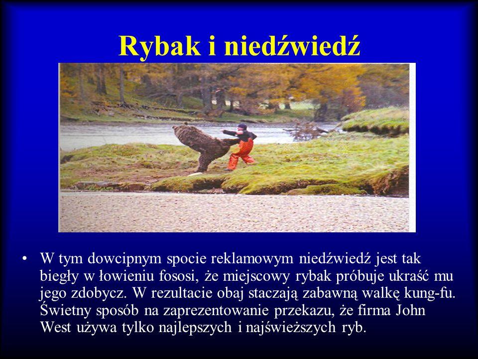 Rybak i niedźwiedź W tym dowcipnym spocie reklamowym niedźwiedź jest tak biegły w łowieniu fososi, że miejscowy rybak próbuje ukraść mu jego zdobycz.