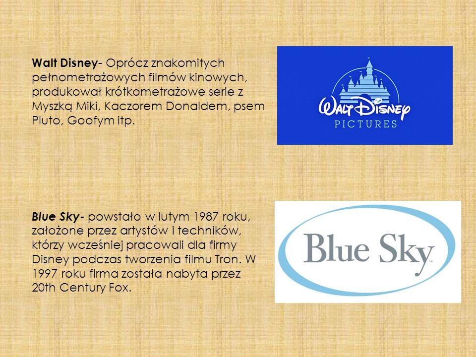 Walt Disney - Oprócz znakomitych pełnometrażowych filmów kinowych, produkował krótkometrażowe serie z Myszką Miki, Kaczorem Donaldem, psem Pluto, Goof
