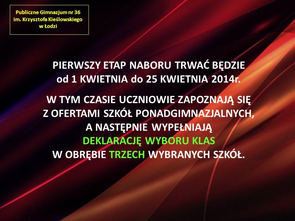 Publiczne Gimnazjum nr 36 im. Krzysztofa Kieślowskiego w Łodzi PIERWSZY ETAP NABORU TRWAĆ BĘDZIE od 1 KWIETNIA do 25 KWIETNIA 2014r. W TYM CZASIE UCZN
