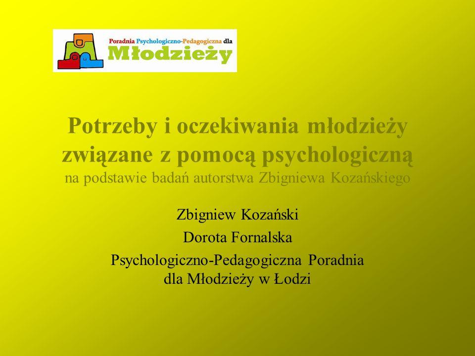 Potrzeby i oczekiwania młodzieży związane z pomocą psychologiczną na podstawie badań autorstwa Zbigniewa Kozańskiego Zbigniew Kozański Dorota Fornalsk
