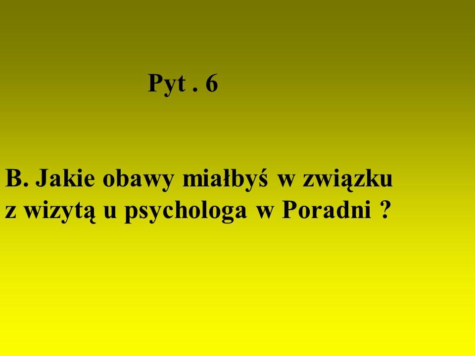 Pyt. 6 B. Jakie obawy miałbyś w związku z wizytą u psychologa w Poradni ?