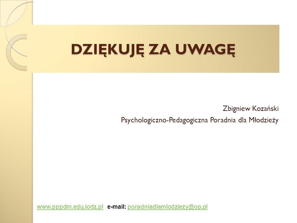 DZIĘKUJĘ ZA UWAGĘ Zbigniew Kozański Psychologiczno-Pedagogiczna Poradnia dla Młodzieży www.pppdm.edu.lodz.plwww.pppdm.edu.lodz.pl e-mail: poradniadlam