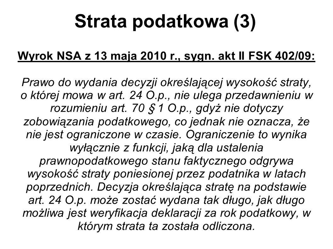 Strata podatkowa (3) Wyrok NSA z 13 maja 2010 r., sygn. akt II FSK 402/09: Prawo do wydania decyzji określającej wysokość straty, o której mowa w art.