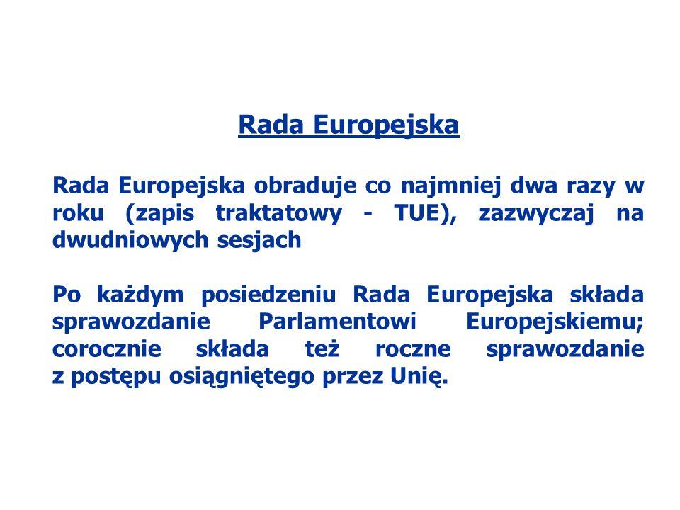 Rada Europejska Rada Europejska obraduje co najmniej dwa razy w roku (zapis traktatowy - TUE), zazwyczaj na dwudniowych sesjach Po każdym posiedzeniu