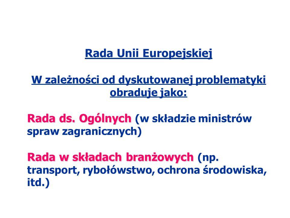 Rada Unii Europejskiej W zależności od dyskutowanej problematyki obraduje jako: Rada ds. Ogólnych Rada ds. Ogólnych (w składzie ministrów spraw zagran