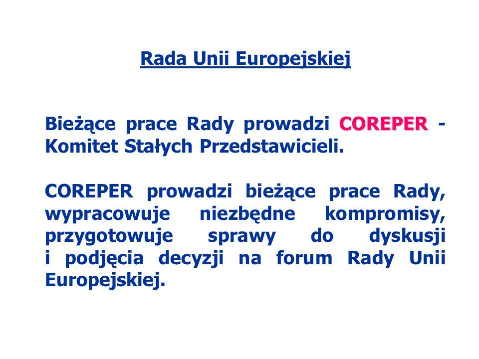 Rada Unii Europejskiej COREPER Bieżące prace Rady prowadzi COREPER - Komitet Stałych Przedstawicieli. COREPER prowadzi bieżące prace Rady, wypracowuje