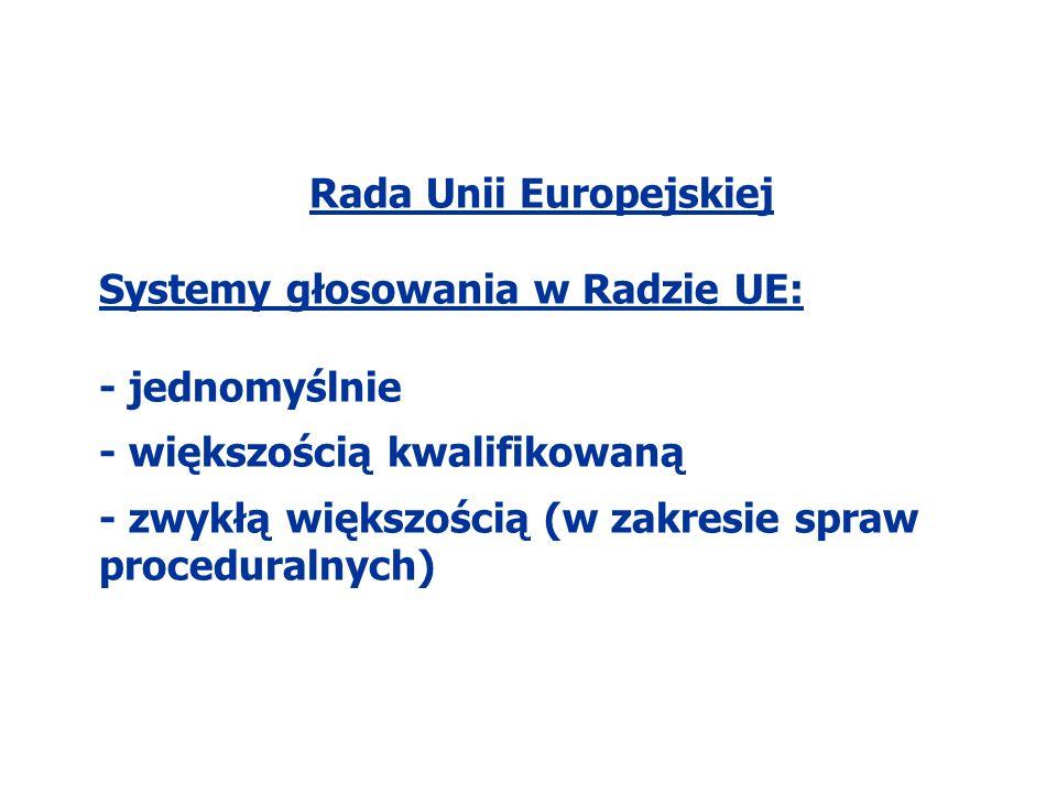 Rada Unii Europejskiej Systemy głosowania w Radzie UE: - jednomyślnie - większością kwalifikowaną - zwykłą większością (w zakresie spraw proceduralnyc