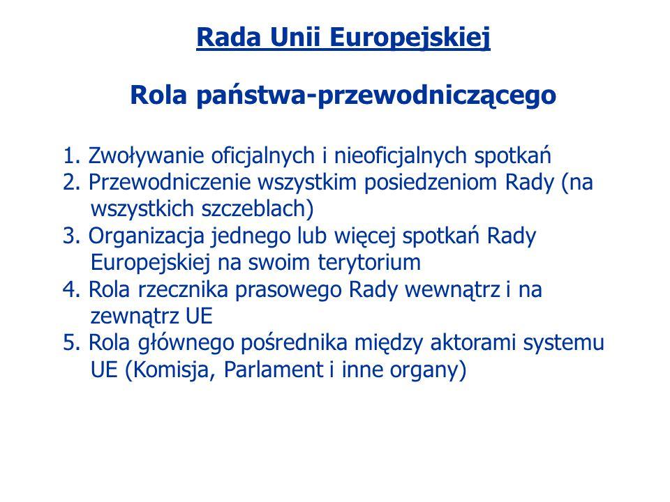Rada Unii Europejskiej Rola państwa-przewodniczącego 1. Zwoływanie oficjalnych i nieoficjalnych spotkań 2. Przewodniczenie wszystkim posiedzeniom Rady