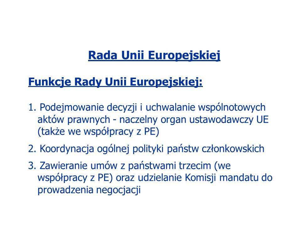 Rada Unii Europejskiej Funkcje Rady Unii Europejskiej: 1. Podejmowanie decyzji i uchwalanie wspólnotowych aktów prawnych - naczelny organ ustawodawczy