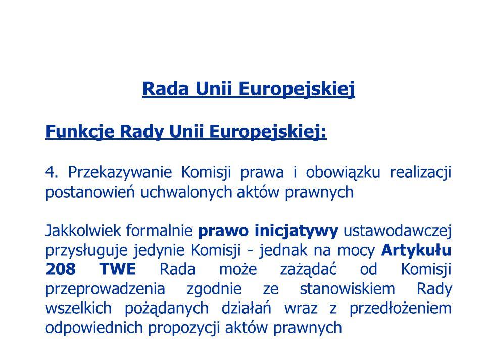 Rada Unii Europejskiej Funkcje Rady Unii Europejskiej: 4. Przekazywanie Komisji prawa i obowiązku realizacji postanowień uchwalonych aktów prawnych Ja