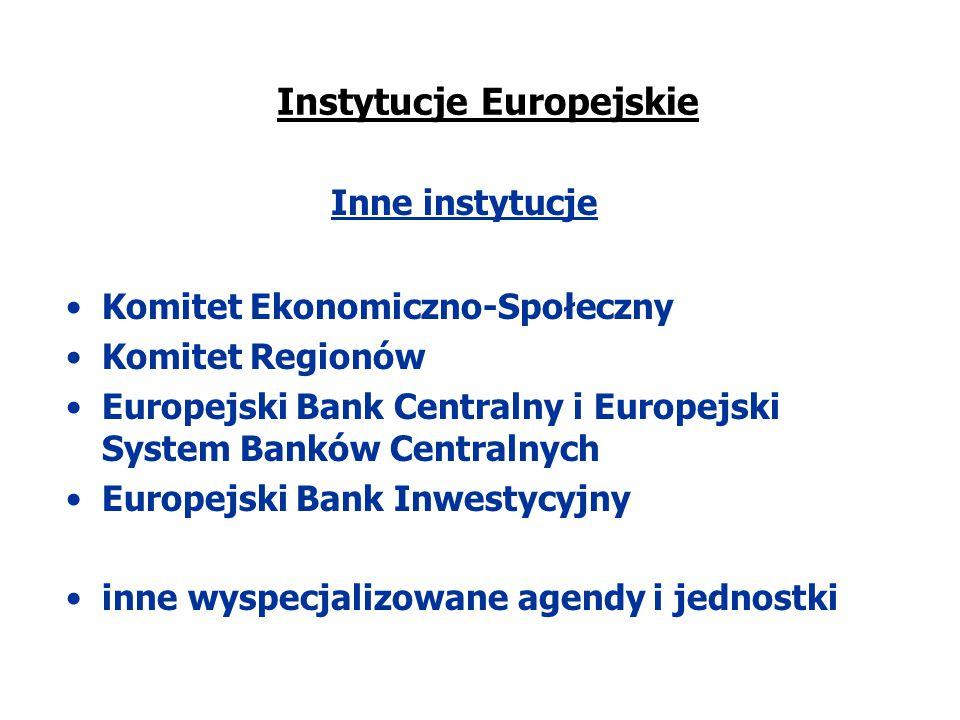 Instytucje Europejskie Inne instytucje Komitet Ekonomiczno-Społeczny Komitet Regionów Europejski Bank Centralny i Europejski System Banków Centralnych