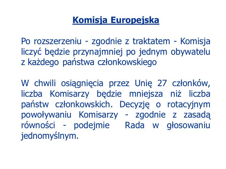 Komisja Europejska Po rozszerzeniu - zgodnie z traktatem - Komisja liczyć będzie przynajmniej po jednym obywatelu z każdego państwa członkowskiego W c