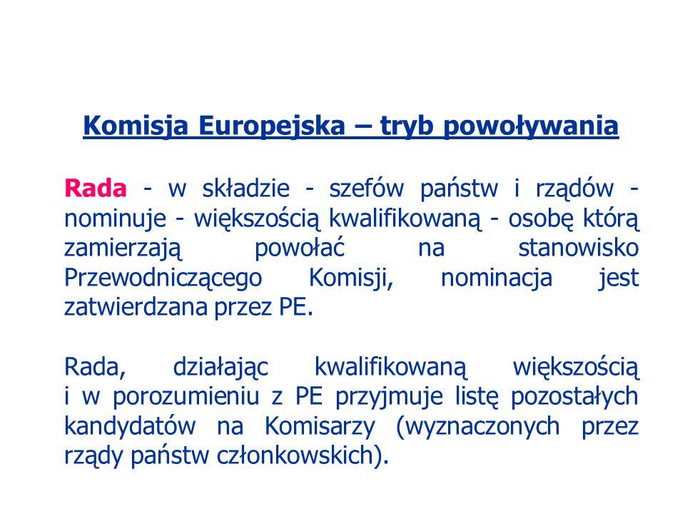 Komisja Europejska – tryb powoływania Rada - w składzie - szefów państw i rządów - nominuje - większością kwalifikowaną - osobę którą zamierzają powoł