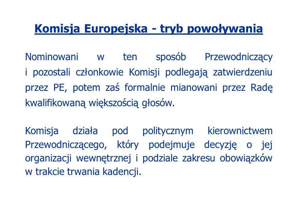 Komisja Europejska - tryb powoływania Nominowani w ten sposób Przewodniczący i pozostali członkowie Komisji podlegają zatwierdzeniu przez PE, potem za