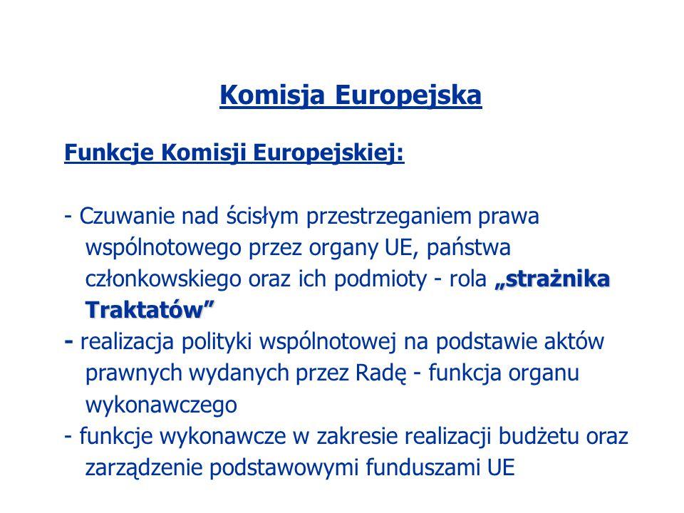 """Komisja Europejska Funkcje Komisji Europejskiej: """"strażnika Traktatów"""" - Czuwanie nad ścisłym przestrzeganiem prawa wspólnotowego przez organy UE, pań"""