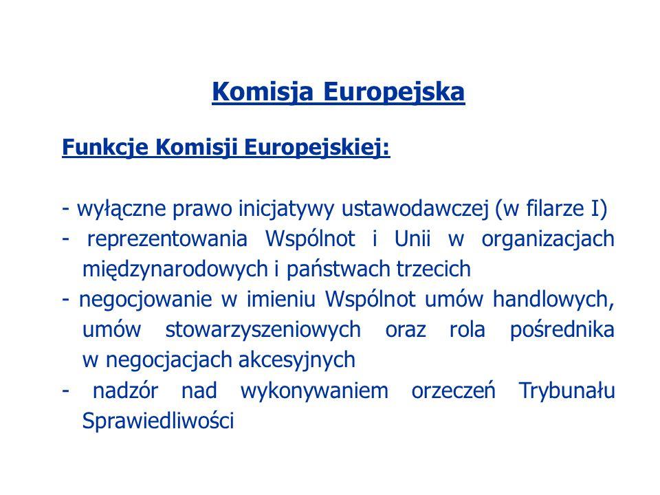 Komisja Europejska Funkcje Komisji Europejskiej: - wyłączne prawo inicjatywy ustawodawczej (w filarze I) - reprezentowania Wspólnot i Unii w organizac