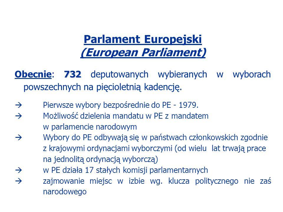 Parlament Europejski (European Parliament) 732 Obecnie: 732 deputowanych wybieranych w wyborach powszechnych na pięcioletnią kadencję.  Pierwsze wybo