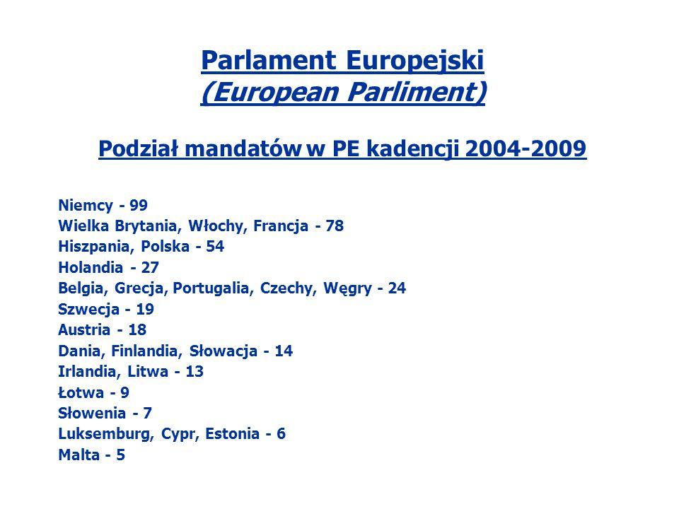 Parlament Europejski (European Parliment) Podział mandatów w PE kadencji 2004-2009 Niemcy - 99 Wielka Brytania, Włochy, Francja - 78 Hiszpania, Polska