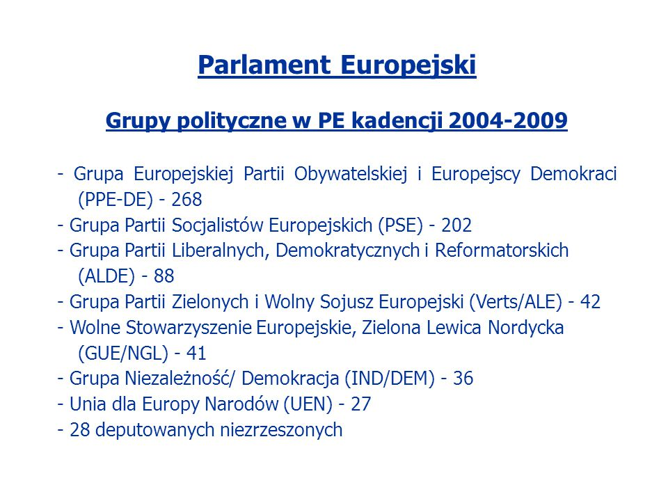 Parlament Europejski Grupy polityczne w PE kadencji 2004-2009 - Grupa Europejskiej Partii Obywatelskiej i Europejscy Demokraci (PPE-DE) - 268 - Grupa