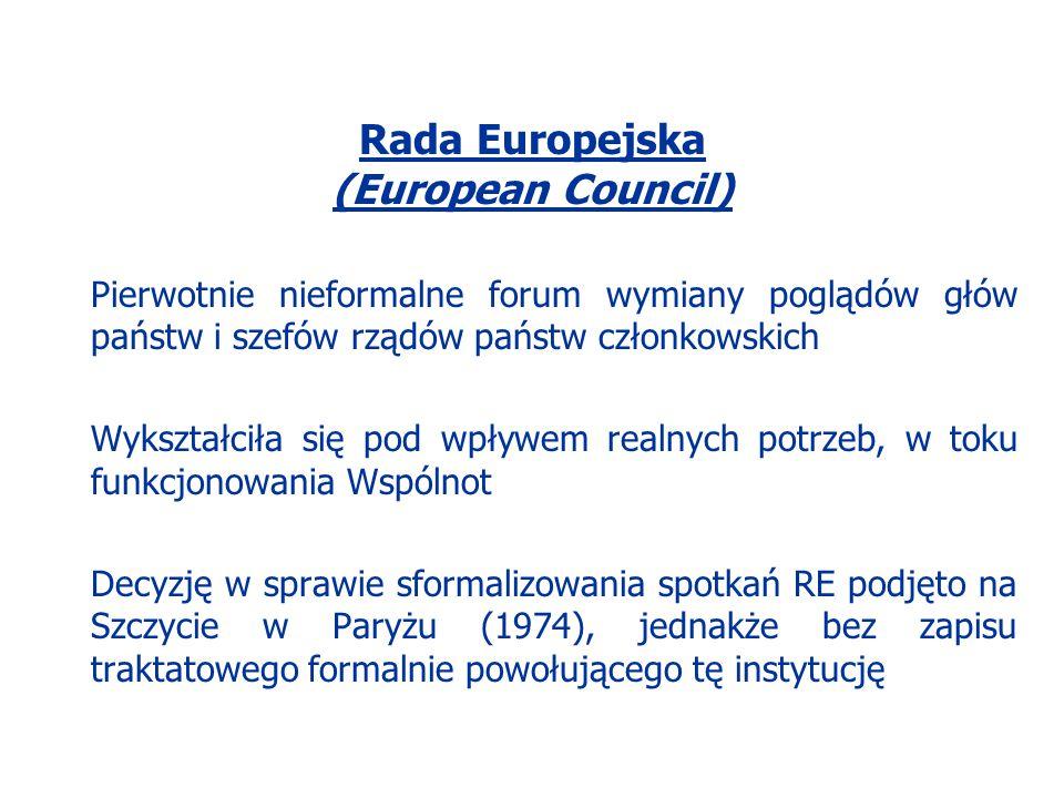 Rada Europejska (European Council) Pierwotnie nieformalne forum wymiany poglądów głów państw i szefów rządów państw członkowskich Wykształciła się pod