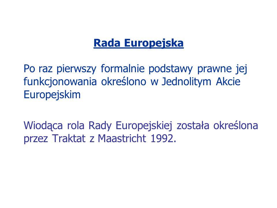 Rada Europejska Artykuł 4/Tytuł I/Traktat o Unii Europejskiej W skład Rady Europejskiej wchodzą: głowy państw lub szefowie rządów państw członkowskich Przewodniczący Komisji Europejskiej jeden członek Komisji Europejskiej
