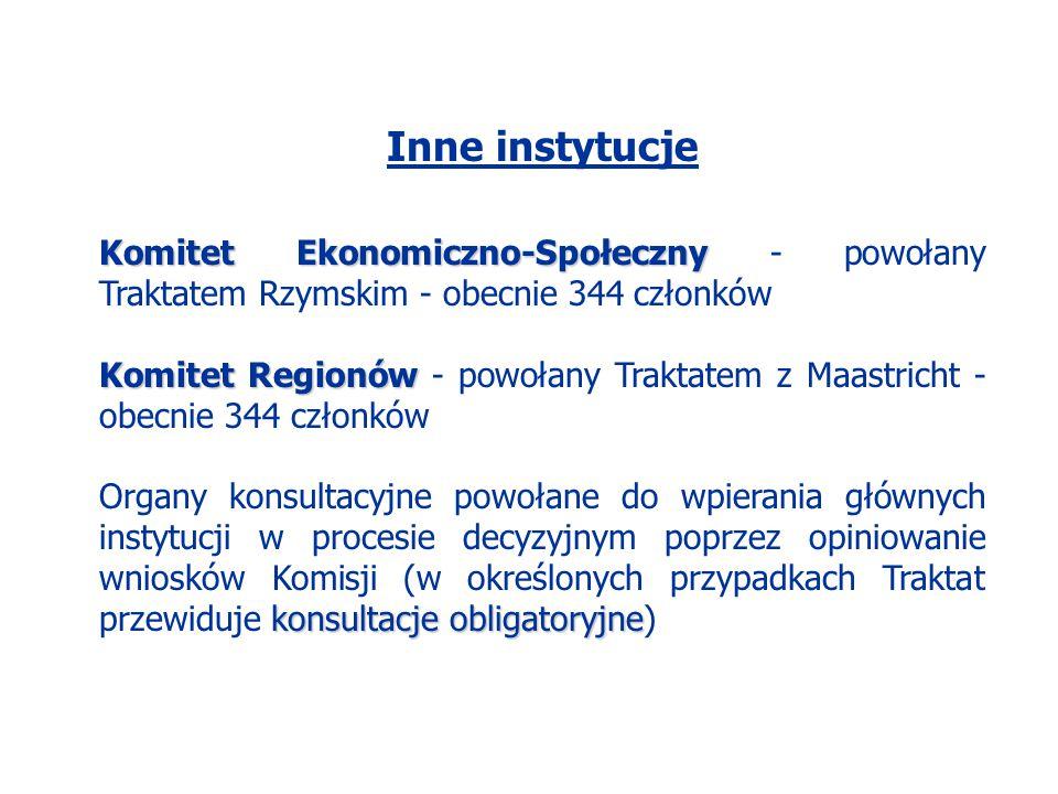 Inne instytucje Komitet Ekonomiczno-Społeczny Komitet Ekonomiczno-Społeczny - powołany Traktatem Rzymskim - obecnie 344 członków Komitet Regionów Komi