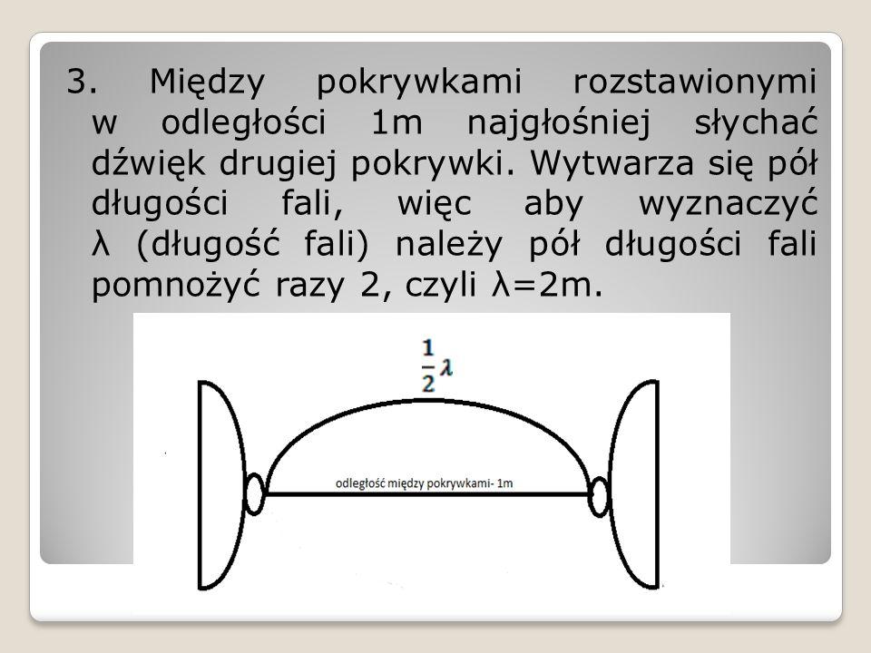 3. Między pokrywkami rozstawionymi w odległości 1m najgłośniej słychać dźwięk drugiej pokrywki. Wytwarza się pół długości fali, więc aby wyznaczyć λ (