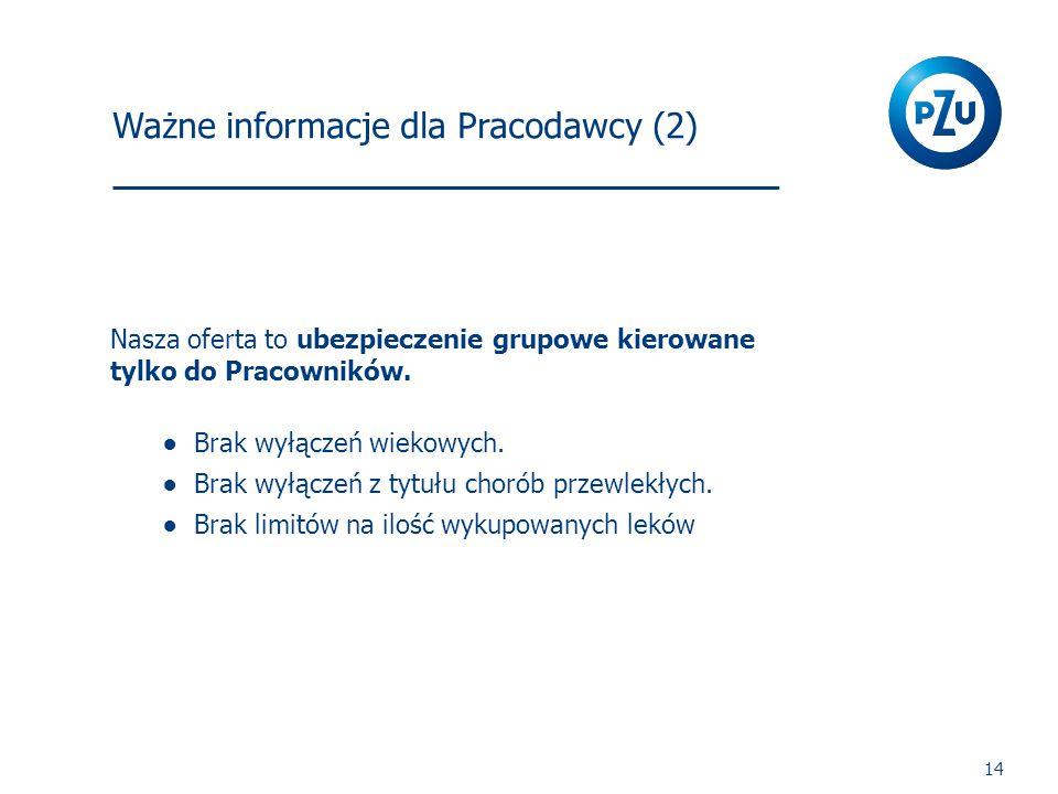 Ważne informacje dla Pracodawcy (2) 14 Nasza oferta to ubezpieczenie grupowe kierowane tylko do Pracowników.