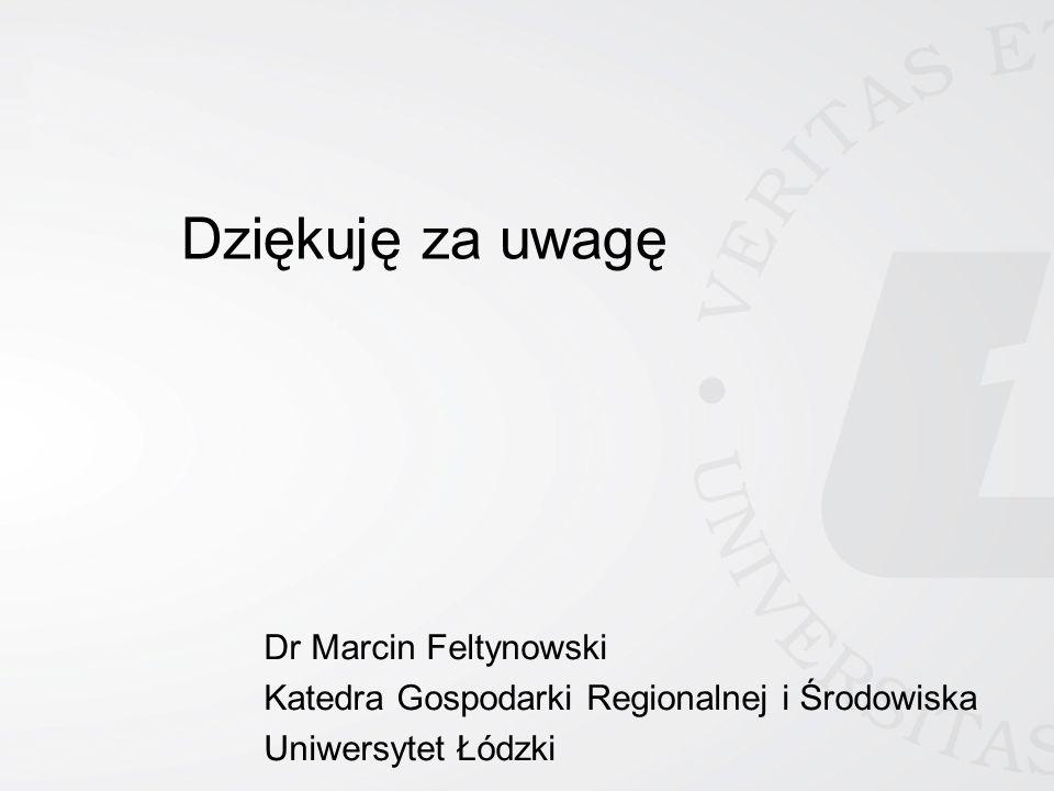 Dziękuję za uwagę Dr Marcin Feltynowski Katedra Gospodarki Regionalnej i Środowiska Uniwersytet Łódzki