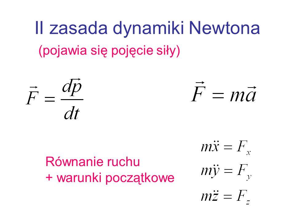 II zasada dynamiki Newtona (pojawia się pojęcie siły) Równanie ruchu + warunki początkowe