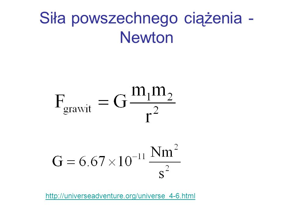 Siła powszechnego ciążenia - Newton http://universeadventure.org/universe_4-6.html