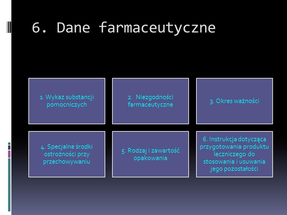 6. Dane farmaceutyczne 1. Wykaz substancji pomocniczych 2. Niezgodności farmaceutyczne 3. Okres ważności 4. Specjalne środki ostrożności przy przechow