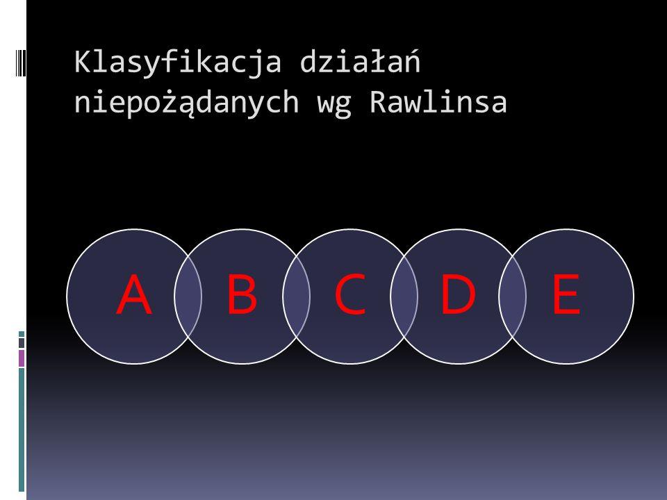 Klasyfikacja działań niepożądanych wg Rawlinsa ABCDE