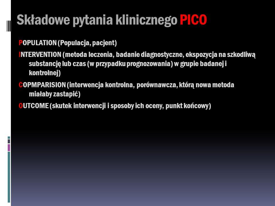 Składowe pytania klinicznego PICO POPULATION (Populacja, pacjent) INTERVENTION (metoda leczenia, badanie diagnostyczne, ekspozycja na szkodliwą substa