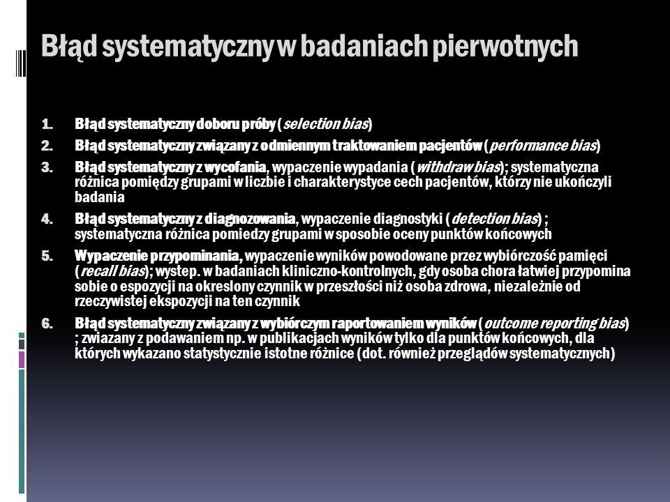 Błąd systematyczny w badaniach pierwotnych 1. Błąd systematyczny doboru próby (selection bias) 2. Błąd systematyczny związany z odmiennym traktowaniem
