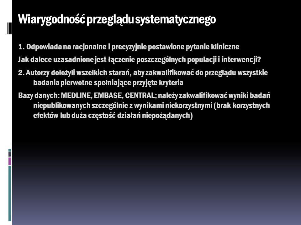 Wiarygodność przeglądu systematycznego 1. Odpowiada na racjonalne i precyzyjnie postawione pytanie kliniczne Jak dalece uzasadnione jest łączenie posz