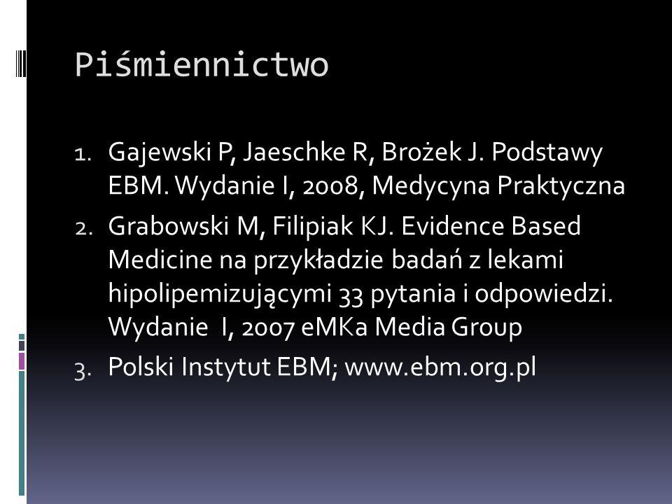 Piśmiennictwo 1. Gajewski P, Jaeschke R, Brożek J. Podstawy EBM. Wydanie I, 2008, Medycyna Praktyczna 2. Grabowski M, Filipiak KJ. Evidence Based Medi