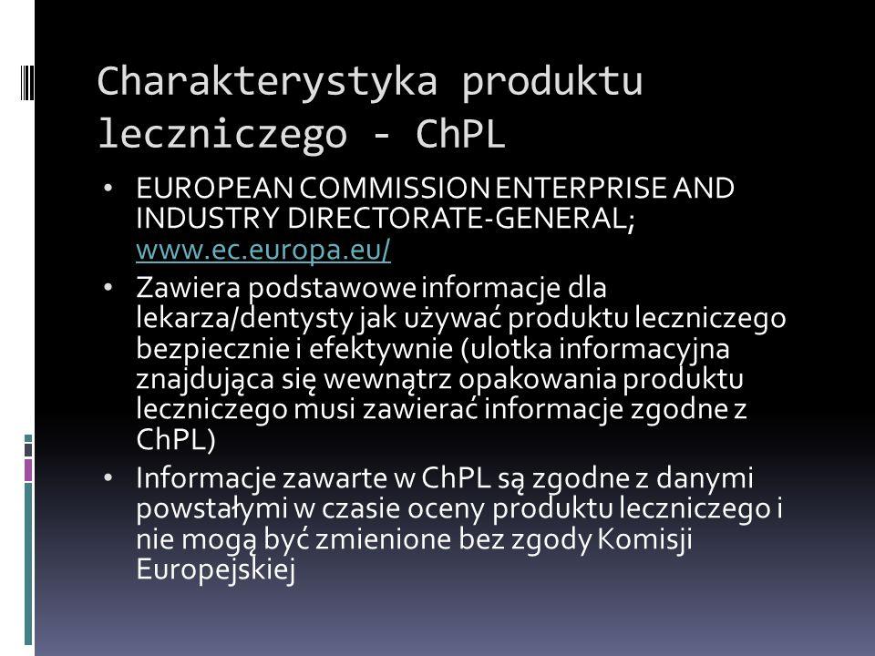 Charakterystyka produktu leczniczego - ChPL EUROPEAN COMMISSION ENTERPRISE AND INDUSTRY DIRECTORATE-GENERAL; www.ec.europa.eu/ www.ec.europa.eu/ Zawie