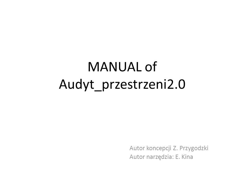 MANUAL of Audyt_przestrzeni2.0 Autor koncepcji Z. Przygodzki Autor narzędzia: E. Kina