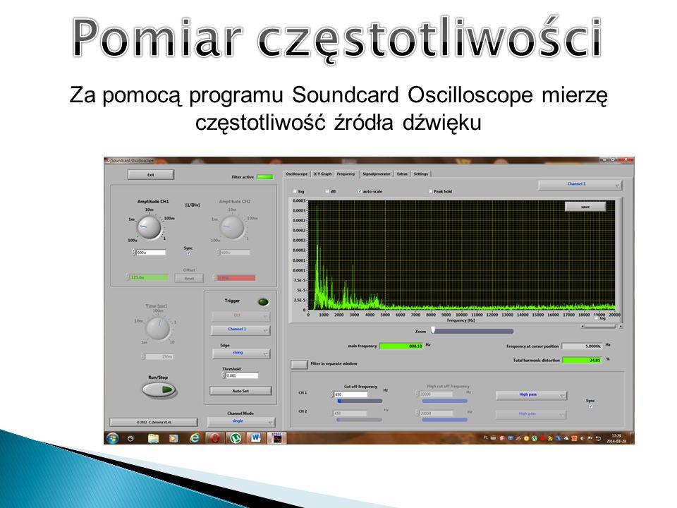 Za pomocą programu Soundcard Oscilloscope mierzę częstotliwość źródła dźwięku