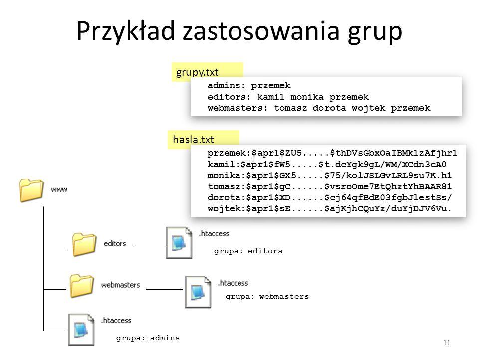 Przykład zastosowania grup grupa: admins grupa: webmasters grupa: editors hasla.txt przemek:$apr1$ZU5.....$thDVsGbxOaIBMk1zAfjhr1 kamil:$apr1$fW5.....